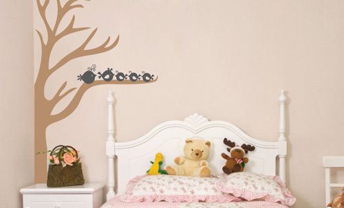 Sissy Little, Vinyl Wall Decal, Half Tree & Birds
