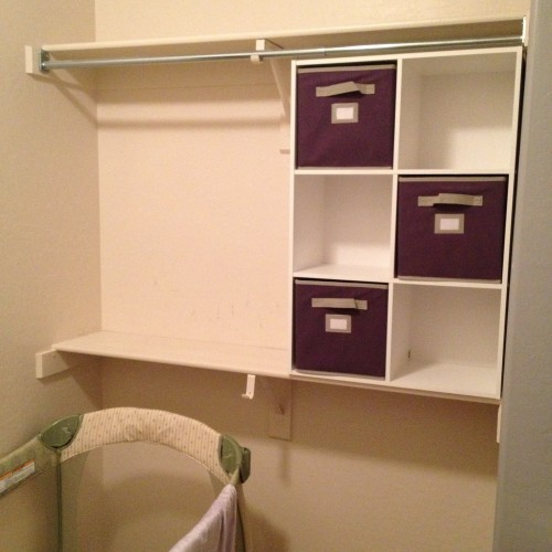 closet nursery, small spaces, martha stewart storage bins