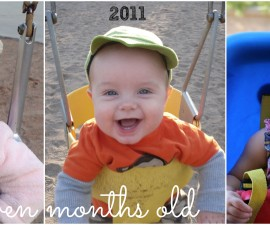 7 months side by side swings with text